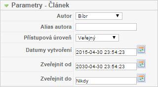 Plánování článku v systému Joomla (starší verze)