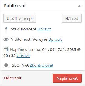 Plánování publikování článku v systému WordPress