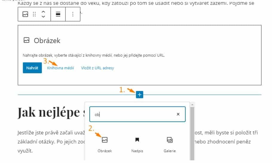 přidávání obrázků ve WordPressu články